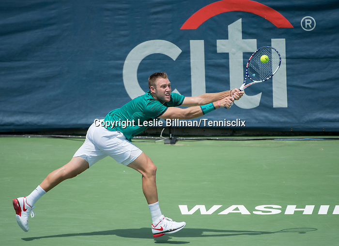 July 22,2016:   Jack Sock (USA) loses to Ivo Karlovic (CRO) 7-6,  7-6, at the Citi Open being played at Rock Creek Park Tennis Center in Washington, DC, .  ©Leslie Billman/Tennisclix