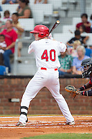 Blake Drake (40) of the Johnson City Cardinals at bat against the Elizabethton Twins at Cardinal Park on July 27, 2014 in Johnson City, Tennessee.  The game was suspended in the top of the 5th inning with the Twins leading the Cardinals 7-6.  (Brian Westerholt/Four Seam Images)