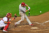 27 September 2010: Philadelphia Phillies' infielder Placido Polanco in action against the Washington Nationals at Nationals Park in Washington, DC. With an 8-0 shutout win, the Philles clinched the National League Eastern Division Title. Mandatory Credit: Ed Wolfstein Photo