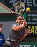 May 25,2016:   Zarina Diyas (KAZ) loses to Simone Halep (ROU) 7-6, 6-2, at the Roland Garros being played at Stade Roland Garros in Paris, .  ©Leslie Billman/Tennisclix/CSM
