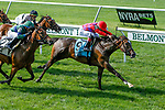 JUNE 26, 2021: Runaway Rumour (NY), #9, ridden by Luis Carndenas, wins the Wild Applause Stakes for 3-year old fillies on the turf, at Belmont Park in Elmont, New York. Sue Kawczynski/Eclipse Sportswire/CSM
