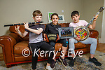 The Doyle family, Philip, Avril and Peter Doyle at home in Tralee, who are members of the Lixnaw Comhaltas Ceoltóirí Éireann doing master classes on Zoom on Sunday.