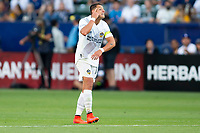 CARSON, CA - JUNE 19: Javier Hernandez #14 of the Los Angeles Galaxy looking for an answer from the referee during a game between Seattle Sounders FC and Los Angeles Galaxy at Dignity Health Sports Park on June 19, 2021 in Carson, California.