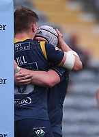 29th May 2021; Sixways Stadium, Worcester, Worcestershire, England; Premiership Rugby, Worcester Warriors versus Leicester Tigers; Ted Hill of Worcester Warriors celebrates scoring a try with his team