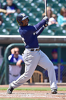 Austin Wates (5) of the New Orleans Zephyrs swings at pitch against the Iowa Cubs at Principal Park on April 23, 2015 in Des Moines, Iowa.  The Zephyrs won 9-2.  (Dennis Hubbard/Four Seam Images)