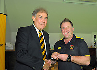Chris Nevin (right) with David Howman. Cricket Wellington membership badge presentations in the Long Room at the Basin Reserve in Wellington, New Zealand on Saturday, 14 November 2020. Photo: Dave Lintott / lintottphoto.co.nz