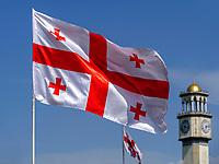 Flaggen von Georgien beim ChaCha-Turm am Hafen, Batumi, Adscharien - Atschara, Georgien, Europa<br /> flags of Georgia at ChaCha tower, Batumi, Adjara,  Georgia, Europe