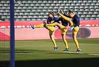 CARSON, CA - FEBRUARY 07: Stephanie Labbe #1, Kailen Sheridan #18 and Sabrina D'Angelo #20 Goalkeepers of Canada warming up during a game between Canada and Costa Rica at Dignity Health Sports Park on February 07, 2020 in Carson, California.