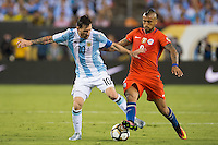 Action photo during the match Argentina vs Chile, Corresponding to Great Final of the America Centenary Cup 2016 at Metlife Stadium, East Rutherford, New Jersey.<br /> <br /> <br /> Foto de accion durante el partido Argentina vs Chile, correspondiente a la Gran Final de la Copa America Centenario 2016 en el  Metlife Stadium, East Rutherford, Nueva Jersey, en la foto: (i-d) Lionel Messi de Argentina y Arturo Vidal de Chile<br /> <br /> <br /> 26/06/2016/MEXSPORT/Jorge Martinez.