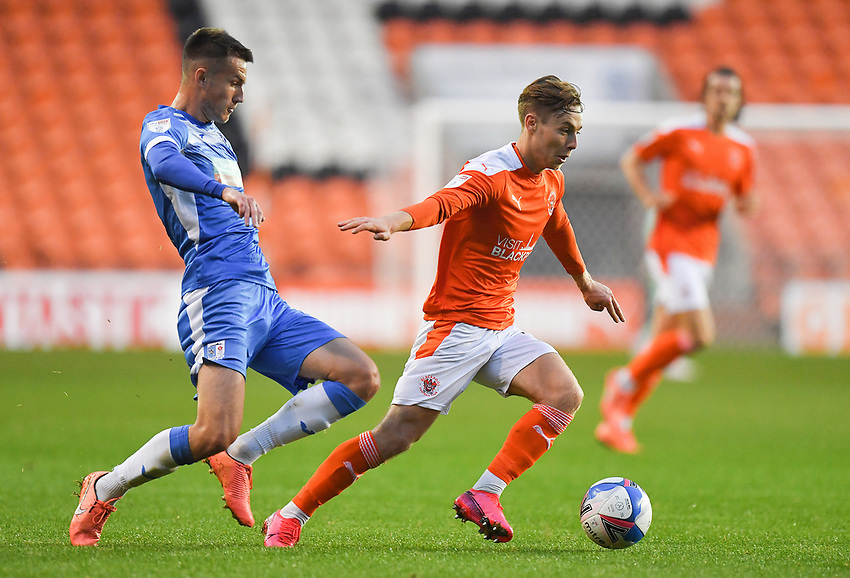 Blackpool's Daniel Kemp battles for the ball<br /> <br /> Photographer Dave Howarth/CameraSport<br /> <br /> EFL Trophy Northern Section Group G - Blackpool v Barrow - Tuesday 8th September 2020 - Bloomfield Road - Blackpool<br />  <br /> World Copyright © 2020 CameraSport. All rights reserved. 43 Linden Ave. Countesthorpe. Leicester. England. LE8 5PG - Tel: +44 (0) 116 277 4147 - admin@camerasport.com - www.camerasport.com