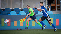 SAN JOSE, CA - MAY 15: Assistant referee Jennifer Garner matches the pace of Luciano Abecasis #2 of the San Jose Earthquakes during a game between San Jose Earthquakes and Portland Timbers at PayPal Park on May 15, 2021 in San Jose, California.