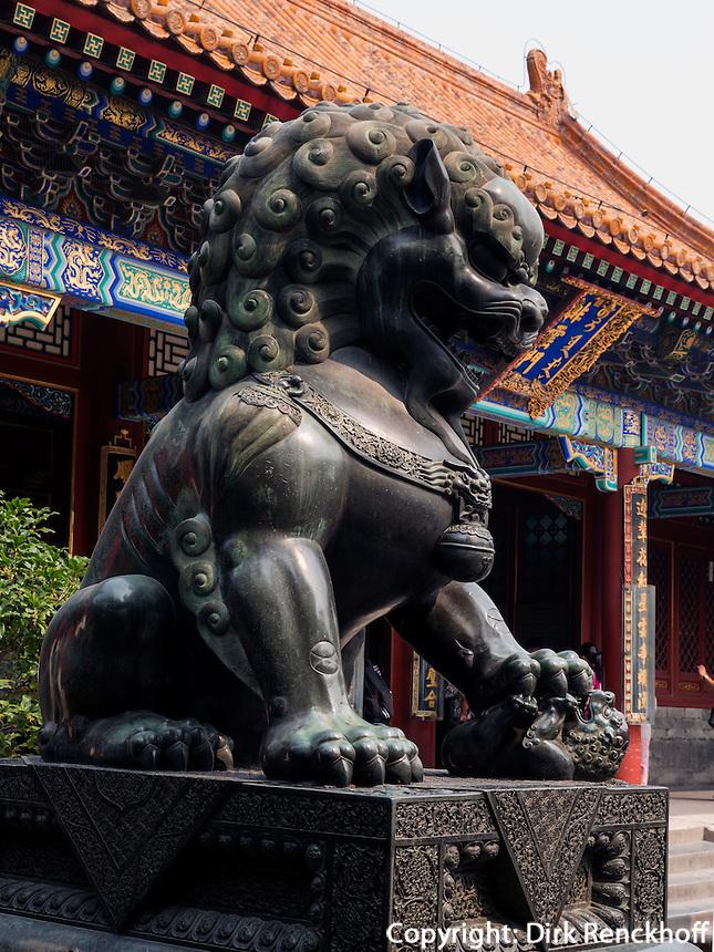 Bronzelöwe im Sommerpalast, Yi He Yuan, in Peking, China, Asien, UNESCO-Weltkulturerbe<br /> Bronze lion in the summerpalace, Yi He Yuan,Beijing, China, Asia, world heritage
