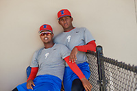 Philadelphia Phillies Carlos Francisco (left) and Junior Tejada (right) during a Minor League Spring Training game against the Toronto Blue Jays on March 29, 2019 at the Carpenter Complex in Clearwater, Florida.  (Mike Janes/Four Seam Images)