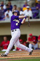LSU Tigers outfielder Raph Rhymes #4 swings during the NCAA Super Regional baseball game against Stony Brook on June 9, 2012 at Alex Box Stadium in Baton Rouge, Louisiana. Stony Brook defeated LSU 3-1. (Andrew Woolley/Four Seam Images)