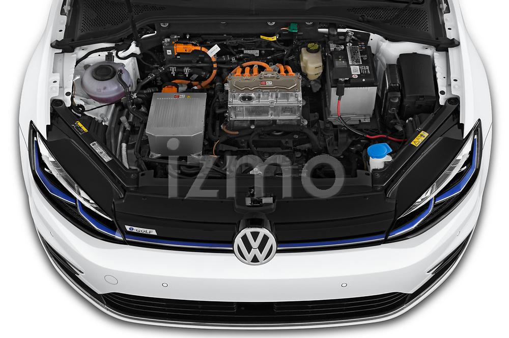 Car stock 2019 Volkswagen e-Golf Base 5 Door Hatchback engine high angle detail view