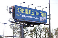 COLLEGE PARK, GA - JANUARY 5: Sign promoting election fraud on I285 around the area leading to downtown Atlanta during the Georgia Senate runoff races on January 5, 2021 in College Park, Georgia. <br /> CAP/MP34<br /> ©MPI34/Capital Pictures