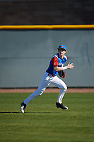 Noah Robbins (4) of Liberty Christian Academy in Hardy, Virginia during the Baseball Factory All-America Pre-Season Tournament, powered by Under Armour, on January 13, 2018 at Sloan Park Complex in Mesa, Arizona.  (Mike Janes/Four Seam Images)