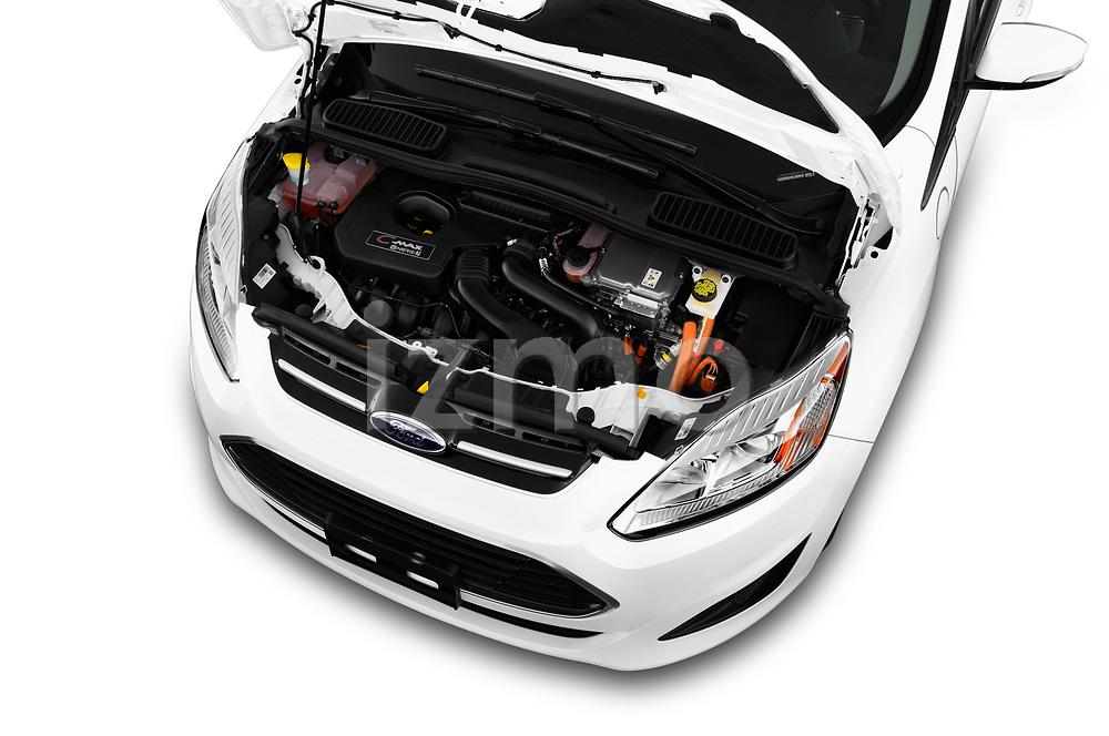Car stock 2018 Ford C-Max PHEV SE 5 Door Mini Van engine high angle detail view
