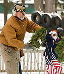 WINSTED, CT-121617JS09---U.S. Air Force veteran Scott Pare of Winsted, places the wreath representing the Air Force during the Wreaths Across America ceremony Saturday at Forest View Cemetery in Winsted. The event was hosted by the Brooks-Green Woods Chapter of the National Society Daughters of the American Revolution.  <br /> Jim Shannon Republican-American