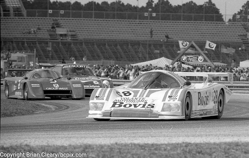 The #28 Nimrod-Aston Martin C2 of Ray Mallock, Drake Olson , and John Sheldon in action on its way to a 16th place finish in the SunBank 24 at Daytona, Daytona International Speedway, Daytona Beach, FL, Feb. 4-5, 1984. (Photo by Brian Cleary/www.bcpix.com)
