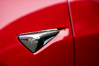 NEWPORT, NJ - AUGUST 31:  A TESLA car is pictured on August 31, 2020 in Newport, New Jersey. Tesla shares are more affordable today after their split, which does not make the stock a more attractive investment than it was pre-split price. (Photo by Eduardo MunozAlvarez/VIEWpress)