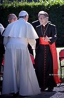 Pope Francis Cardinal Luis Antonio Gokim Tagle. attends the celebration of the Season of Creation with the planting of a tree and a dedication of the Synod for the Amazon to St. Francis, on the occasion of the feast of St. Francis of Assisi. in the Vatican gardens.Vatican City, October 4th, 2019.