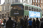 The funeral of the late music manager and punk pioneer Malcolm McLaren in London this afternoon. Joe Corre standing in the doorway of the Nowhere bus which followed the cortege down Camden High Street..