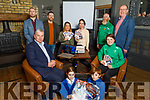 CBS school launch their €1,000aire fundraiser in the Ashe Hotel on Tuesday.<br /> Kneeling l to r: Rowan and Zak Moore.<br /> Seated l to r: Tom Shanahan and Ciara Griffin.<br /> Standing l to r: Brendan Smith, Keith Costello, Sarah Moloney, Sarah Barry, Adrian O'Mahoney and Denis Coleman (Principal).