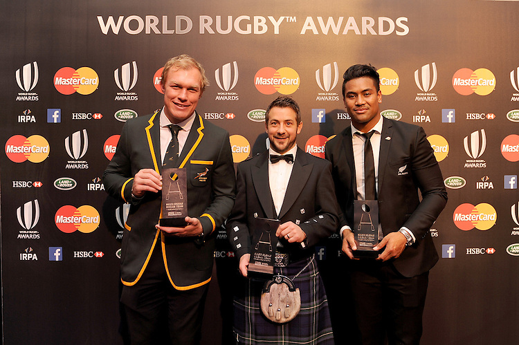 Schalk Burger of South Africa, Greig Laidlaw of Scotland and Julian Savea of New Zealand, winners of the Dream Team Award, at the World Rugby Awards 2015  - 01/11/2015 - Battersea Evolution, London<br /> Mandatory Credit: Rob Munro/Stewart Communications