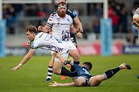28th May 2021; AJ Bell Stadium, Salford, Lancashire, England; English Premiership Rugby, Sale Sharks versus Bristol Bears; Ioan Lloyd of Bristol Bears is tackled by Luke James of Sale Sharks