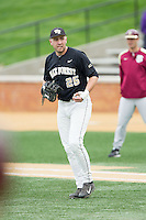 Wake Forest Demon Deacons first baseman Matt Conway (25) on defense against the Florida State Seminoles at Wake Forest Baseball Park on April 19, 2014 in Winston-Salem, North Carolina.  The Seminoles defeated the Demon Deacons 4-3 in 13 innings.  (Brian Westerholt/Four Seam Images)