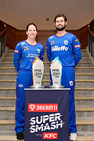 Lauren Down, captain of the Auckland Hearts and Robbie O'Donnell, captain of the Auckland Aces (L-R) Super Smash Captains photo opportunity at Basin Reserve, Wellington on Wednesday 23 December 2020.<br /> Copyright photo: Masanori Udagawa /  www.photosport.nz