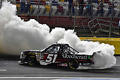 NASCAR Camping World Truck Series<br /> North Carolina Education Lottery 200<br /> Charlotte Motor Speedway, Concord, NC USA<br /> Friday 19 May 2017<br /> Kyle Busch, Cessna Toyota Tundra celebrates his win with a burnout<br /> World Copyright: Nigel Kinrade<br /> LAT Images<br /> ref: Digital Image 17CLT1nk05301