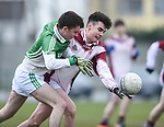 John Murphy of  Ennistymon CBS  in action against Brendan Gough of  St Declan's Kilmacthomas during their Munster C Colleges football final at Rathkeale. Photograph by John Kelly.