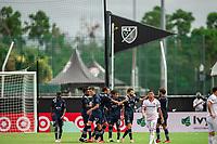 LAKE BUENA VISTA, FL - JULY 22: Sporting Kansas City celebrates a goal during a game between Real Salt Lake and Sporting Kansas City at Wide World of Sports on July 22, 2020 in Lake Buena Vista, Florida.