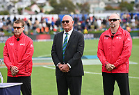 20th March 2021; Dunedin, New Zealand;  Match Umpires Chris Gaffaney (L) Wayne Knights and match referee Jeff Crowe ( middle )<br />