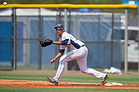 GCL Rays first baseman Kaleo Johnson (21) stretches to receive a throw during a game against the GCL Twins on August 9, 2018 at Charlotte Sports Park in Port Charlotte, Florida.  GCL Twins defeated GCL Rays 5-2.  (Mike Janes/Four Seam Images)