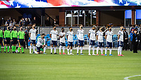 SAN JOSE, CA - MAY 01: DC United Players during the National Anthem before a game between San Jose Earthquakes and D.C. United at PayPal Park on May 01, 2021 in San Jose, California.
