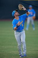 Myrtle Beach Pelicans outfielder Grant Fennell (5) catches a popup during a Carolina League game against the Potomac Nationals on August 14, 2019 at Northwest Federal Field at Pfitzner Stadium in Woodbridge, Virginia.  Potomac defeated Myrtle Beach 7-0.  (Mike Janes/Four Seam Images)