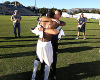 Coach Caleb Porter with Kofi Sarkodie #8 of the University of Akron during the 2010 College Cup final against the University of Louisville at Harder Stadium, on December 12 2010, in Santa Barbara, California.Akron champions, 1-0.