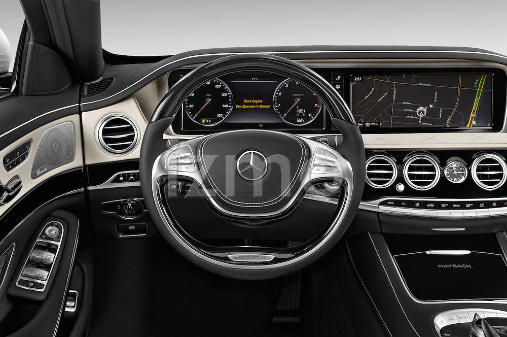 Car pictures of steering wheel view of a2016 Mercedes Benz S Class May Bach 4 Door Sedan Steering Wheel
