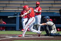 Maryland Terrapins outfielder Randy Bednar (3) hits a first inning home run against the Michigan Wolverines on May 23, 2021 in NCAA baseball action at Ray Fisher Stadium in Ann Arbor, Michigan. Maryland beat the Wolverines 7-3. (Andrew Woolley/Four Seam Images)
