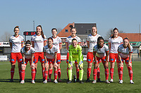 team of Zulte Waregem with Pauline Windels (5) of Zulte-Waregem   Romy Camps (3) of Zulte-Waregem   Summer Rogiers (8) of Zulte-Waregem   Geena Lisa Buyle (13) of Zulte-Waregem   Lotte De Wilde (19) of Zulte-Waregem   Anne-Lore Scherrens (22) of Zulte-Waregem   Liesa Capiau (15) of Zulte-Waregem   Amber De Priester (6) of Zulte-Waregem   goalkeeper Ianthe Meerschaert (31) of Zulte-Waregem   Esther Buabadi (24) of Zulte-Waregem   Maite De Baets (16) of Zulte-Waregem    pictured during a female soccer game between SV Zulte - Waregem and Eendracht Aalst on the 17 th matchday of the 2020 - 2021 season of Belgian Scooore Womens Super League , saturday 20 th of March 2021  in Zulte , Belgium . PHOTO SPORTPIX.BE | SPP | DIRK VUYLSTEKE