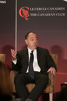 Montreal, canada, June 1st 2015.<br /> <br /> <br /> Christian Dube , Executive Vice-President, Quebec, Caisse de Depot et Placement du Quebec take part in a debate about Quebec's economy, at the Canadian Club of Montreal, June 1st 2015.<br /> <br /> Photo : Pierre Roussel - Agence Quebec Presse
