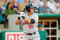 Rick Hague #18 of the Hagerstown Suns at bat against the Greensboro Grasshoppers at NewBridge Bank Park July 30, 2010, in Greensboro, North Carolina.  Photo by Brian Westerholt / Four Seam Images