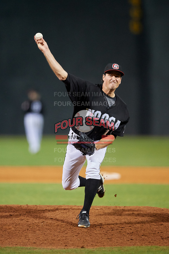 Chattanooga Lookouts relief pitcher Ryne Harper (13) delivers a pitch during a game against the Jackson Generals on May 9, 2018 at AT&T Field in Chattanooga, Tennessee.  Chattanooga defeated Jackson 4-2.  (Mike Janes/Four Seam Images)