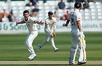 Ryan Higgins of Gloucestershire appeals for the wicket of Sir Alastair Cook during Essex CCC vs Gloucestershire CCC, LV Insurance County Championship Division 2 Cricket at The Cloudfm County Ground on 5th September 2021