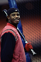 Ken Griffey,jr  of the Cincinnati Reds during a 2000 season MLB game at Dodger Stadium in Los Angeles, California. (Larry Goren/Four Seam Images)