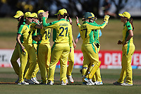4th April 2021; Bay Oval, Taurange, New Zealand;  Australia celebrate running out White Ferns Rosemary Mair during the 1st women's ODI White Ferns versus Australia Rose Bowl cricket match at Bay Oval in Tauranga.
