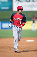 Jose Marmolejos-Diaz (6) of the Hagerstown Suns rounds the bases after hitting a grand-slam against the Kannapolis Intimidators at CMC-Northeast Stadium on August 16, 2015 in Kannapolis, North Carolina.  The Suns defeated the Intimidators 7-2 in game one of a double-header.  (Brian Westerholt/Four Seam Images)
